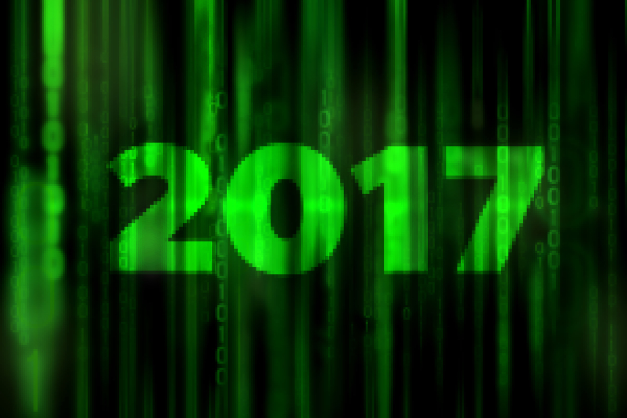 2017 Mosaic Abstract Digital Science Fiction Matrix Like Background With Happy New Year Concept